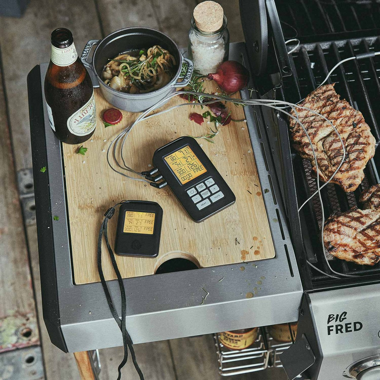 grillthermometer funk bbq thermometer f r grill backofen. Black Bedroom Furniture Sets. Home Design Ideas